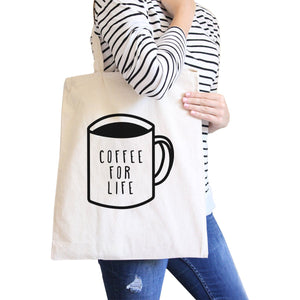 Coffee for Life Natural Canvas Bag Coffee Lover