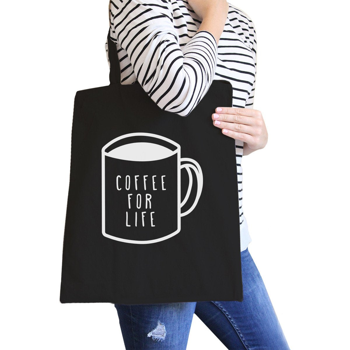 Coffee for Life Black Canvas Bag Coffee Lover