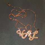 14 K ROSE GOLD CUSTOM VAL WARNER NAMEPLATE