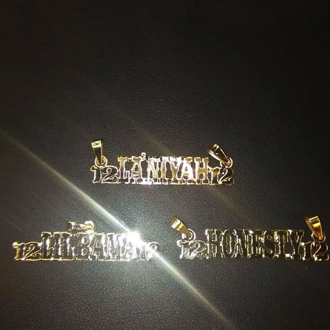 GOLD NAMEPLATES WITH BIG GOLD BAILS