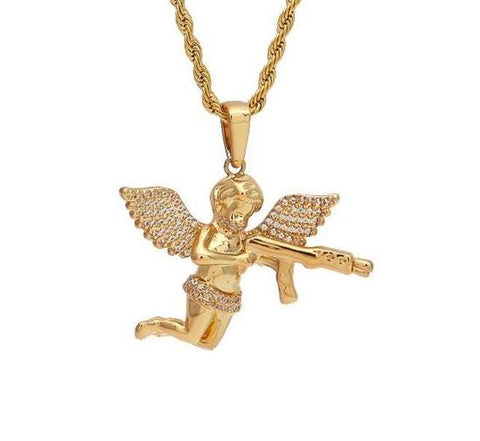 CUSTOM ANGEL BABY GUN PISTOL PENDANT 14K GOLD