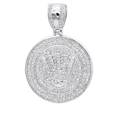 ROUND MEDALLION ICED OUT 10K GOLD REAL DIAMOND CROWN PENDANT FOR MEN