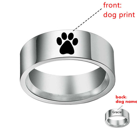 Paw Print Rings Custom Paw Name Rings - Creative Minds Jewels