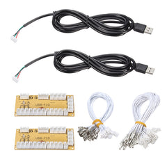 2 unids/lote DIY Zero Delay Arcade USB encoder PC a joystick repuesto cable USB encoder Board + push Botones alambres Cables