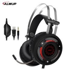 ALWUP A6 Gaming auriculares para PC juegos con divisor de cable led HD Bass Gaming headset para ps4 xbox one con micrófono