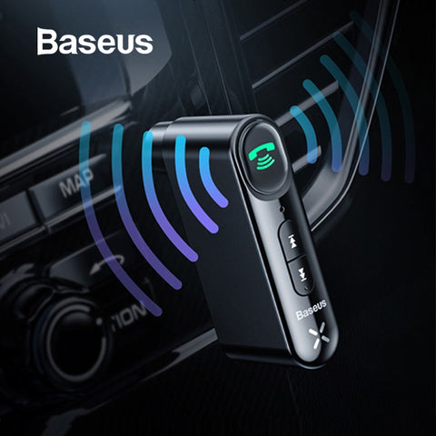 Baseus AUX Car receptor Bluetooth 3,5 MM Jack Audio música Bluetooth 5,0 Kit de coche inalámbrico manos libres Altavoz Bluetooth coche ESTÉREO