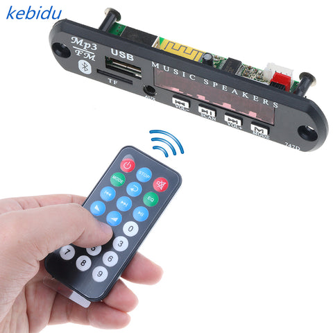 Kebidu 5 V 12 V 24 V de la AMM MP3 Audio 3,5mm MP3 jugador decodificador USB TF FM Radio AUX Bluetooth inalámbrico para coche para iPhone