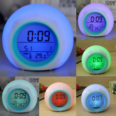 Reloj despertador digital 7 color LED luz y naturaleza sonidos