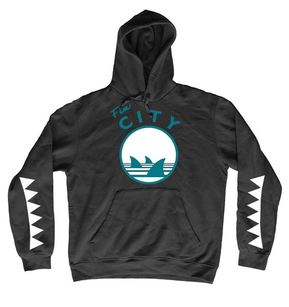 fin city sharks teeth youth hoodie