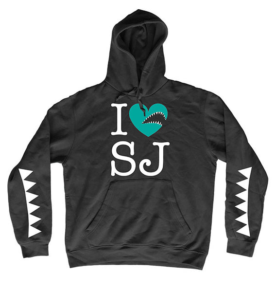 i heart sj shark teeth hoodie
