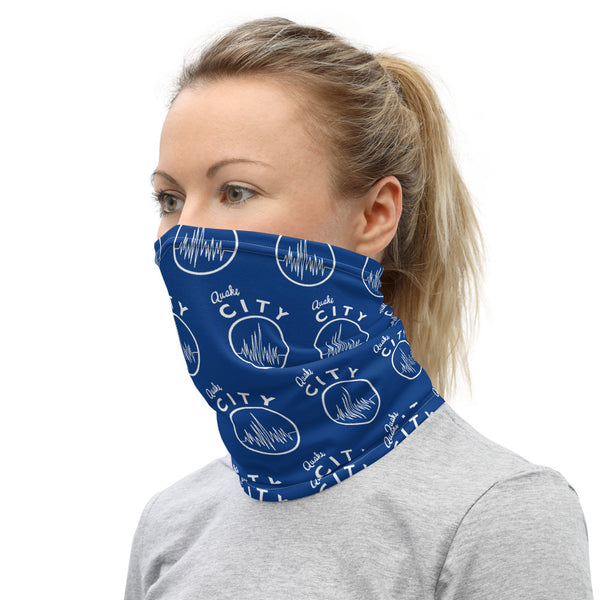 Quake City - Blue Step Repeat Neck Gaiter
