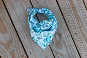 Blue Sketched Flowers Bandana