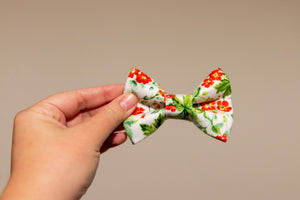 Red Japanese Flowers Bow Tie