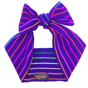 Sarape Head Wrap - Purple Rainbow Stripe