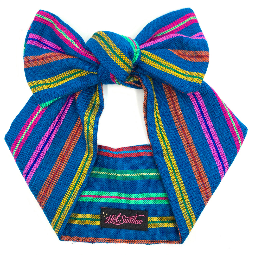 Sarape Head Wrap - Blue Jewel Stripe