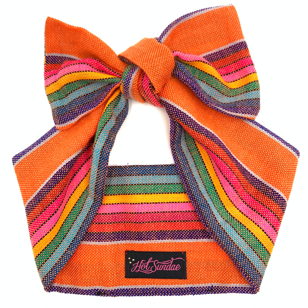 Sarape Head Wrap - Orange Rainbow Stripe