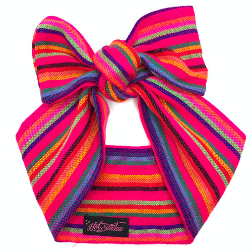 Sarape Head Wrap - Pink Multi Stripe