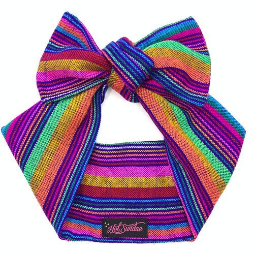 Sarape Head Wrap - Purple Stripe