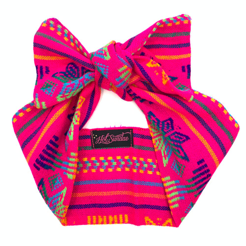 Sarape Head Wrap - Hot Pink Snowflake