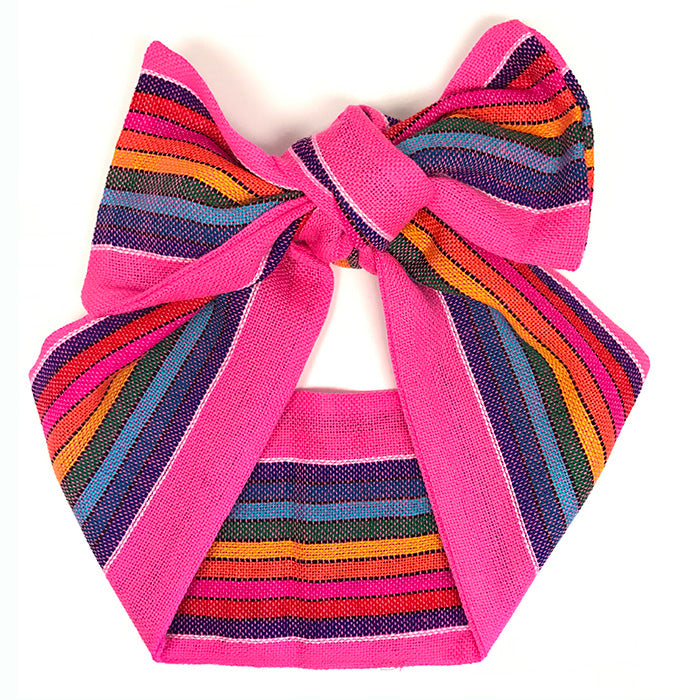 Sarape Head Wrap - Hot Pink Rainbow