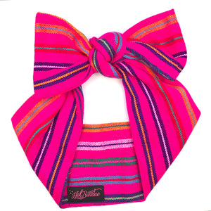 Sarape Head Wrap - Hot Pink Stripe