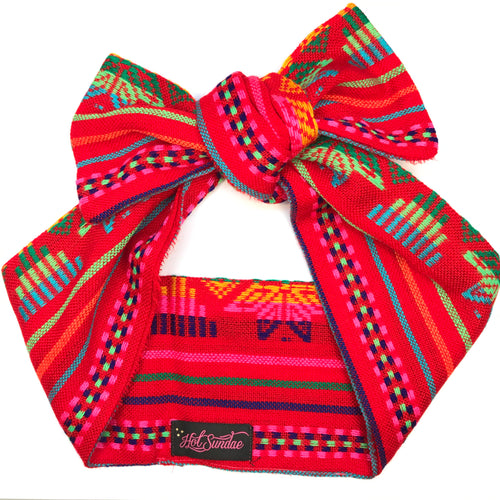 Sarape Head Wrap - Red Star