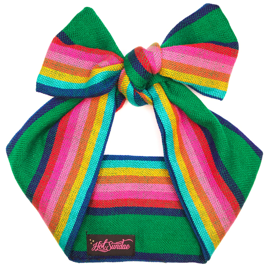 Sarape Head Wrap - Green Stripe