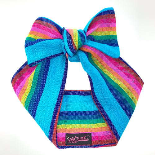 Sarape Head Wrap - Rainbow Azul