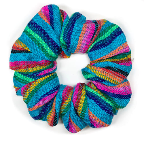 Sarape Scrunchie - Teal Stripe