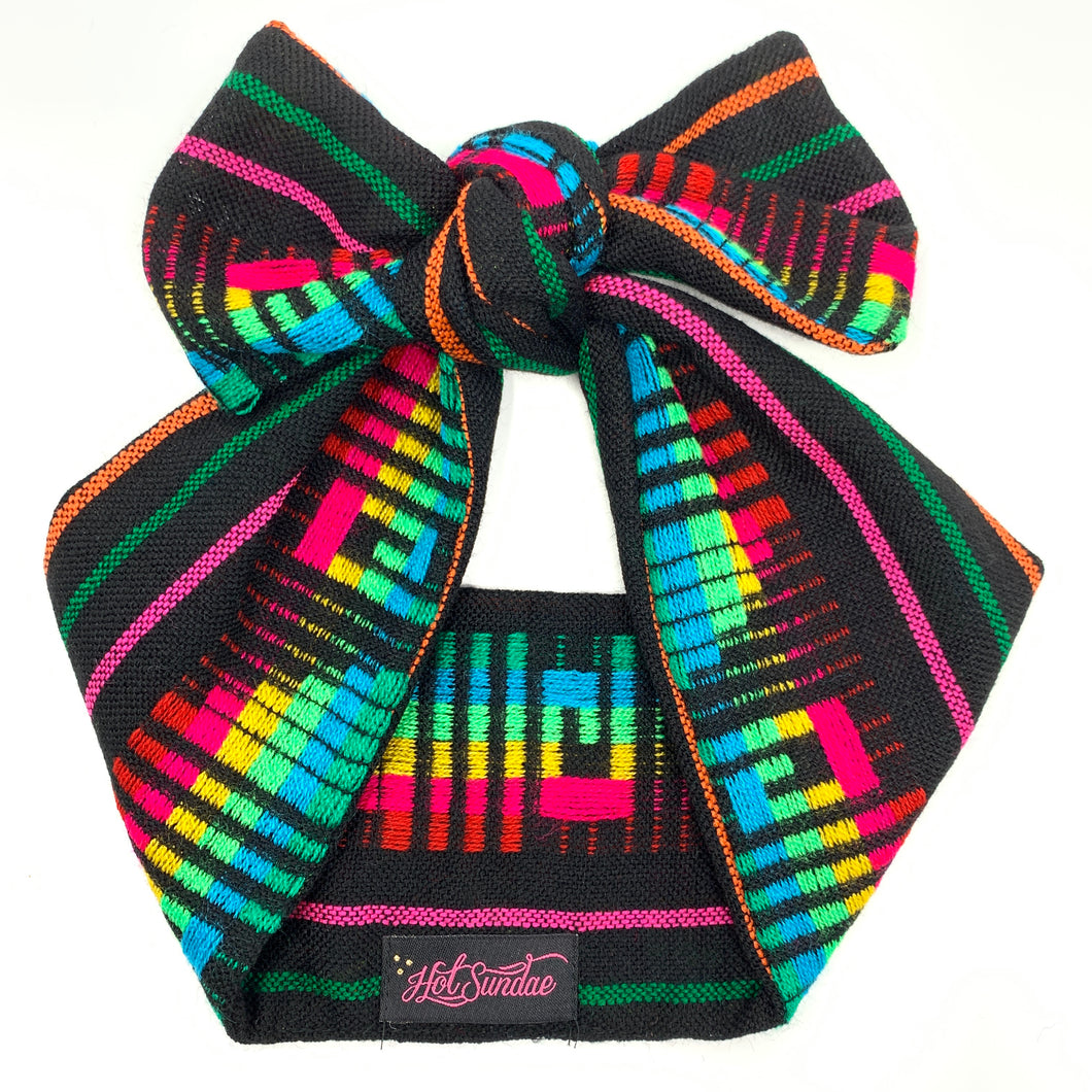 Sarape Head Wrap - Black Geo Rainbow