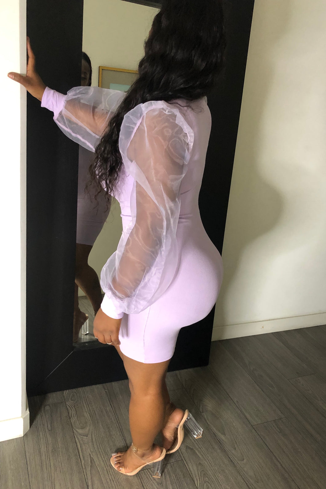 Pretty Sheer body con dress (lilac)