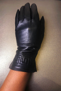 Robin embroidered leather glove