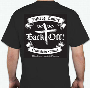 "'Bikers Count' 2020 "" BACK OFF""  T-shirt sz XL"