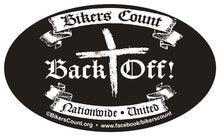 BUMPER STICKER 'BIKERS COUNT - BACK OFF'