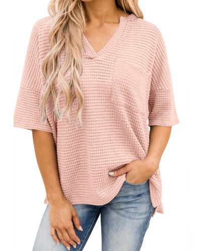 Women'sV Neck T Shirt Top Waffle Knit High Low Casual