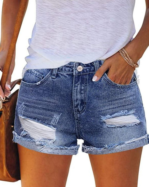 Women's Mid Rise Ripped Denim Shorts