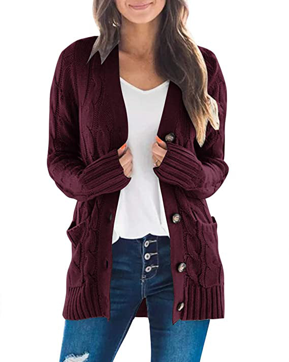 Women's Cable Knit Sweater Cardigan