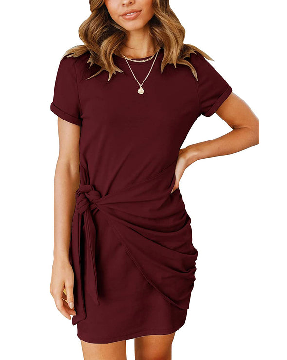 Women's  Tie Waist Ruched Bodycon Mini Dress