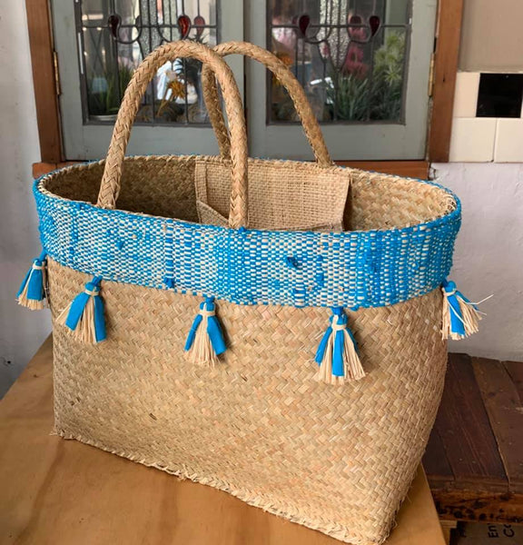 Hand Woven Pretty Basket with Tassels
