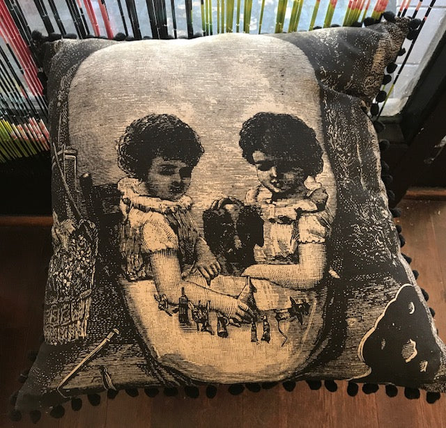 VICTORIAN SKULL/KIDS LINEN CUSHION WITH POM POMS