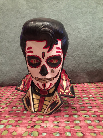 HAND PAINTED ELVIS BISQUE BUST