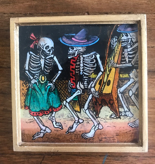 PAINTING ON BACK OF GLASS DAY OF THE DEAD PICTURE