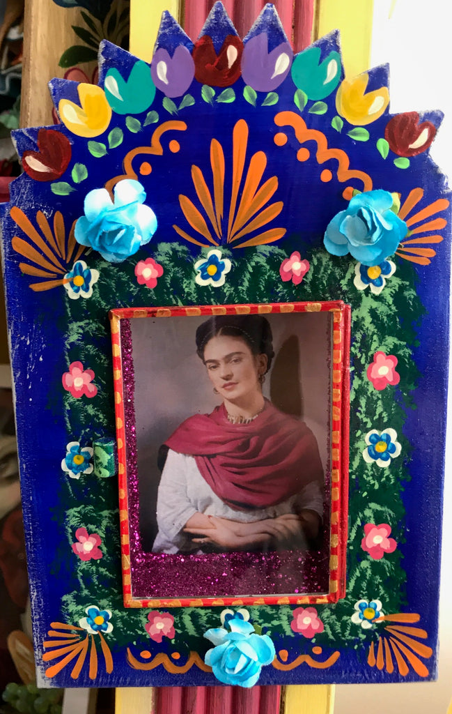 Mexican Frida Shadow Box With Paper Flowers Holy Kitsch