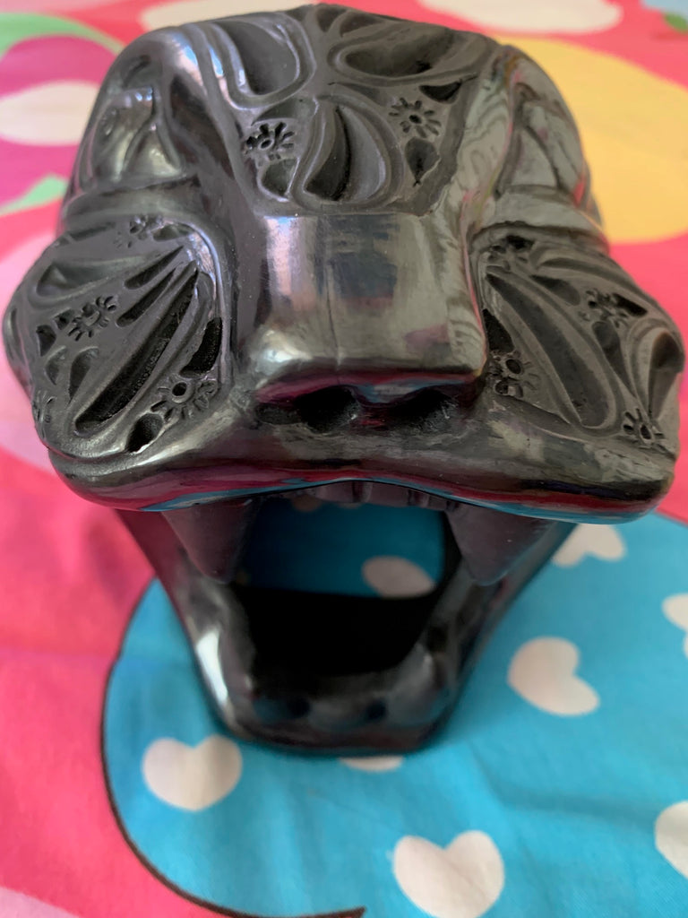Mexican Puma Carved Black Ceramic