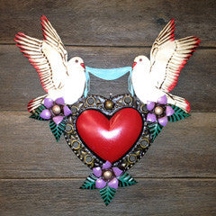 PEACE DOVES IN LOVE MEXICAN HEART