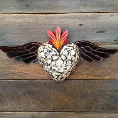 Mexican Charmed Heart Wings Red Black Medium