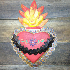 MEXICAN TIN THORNY HEART WITH FLAMES