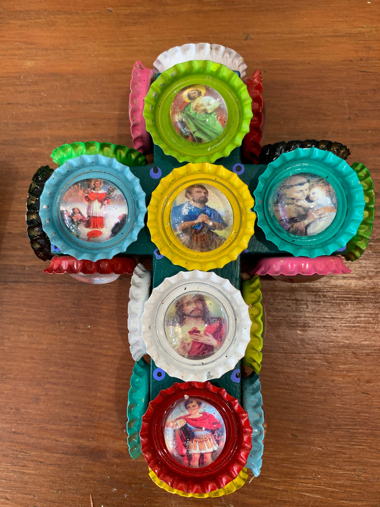 CUTEST BOTTLECAP CROSS WITH PROECTIVE SAINTS