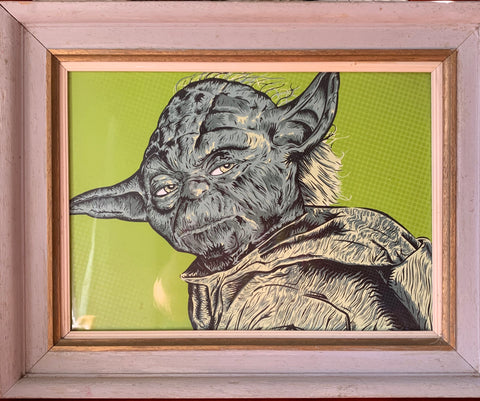 Yoda Screened Graphic Vintage Frame