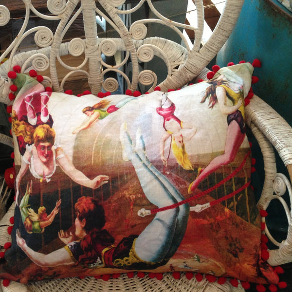 VICTORIAN TRAPEZE ARTISTS LINEN POM POM CUSHION